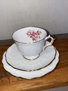AYNSLEY PINK ROSE TRIO Fine English Bone China Trio Cup Saucer Set