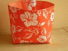 Wollekorb, Handarbeitskorb, Utensilo, Strickkorb mit Henkel - orange  Blumemotiv