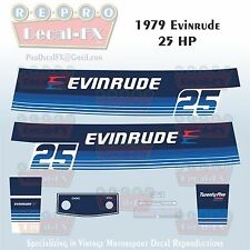 1979 Evinrude 25 HP Two Stroke Outboard Repro 8 Pc Marine Vinyl Decals 25904-05