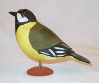 Black & Yellow Polychrome Painted Hand Carved Wood Bird Black Headed Grosbeak