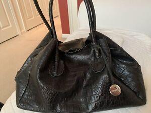 FURLA Croc Embossed Leather Black Shoulder Tote Bag Handbag Purse