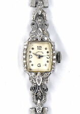 LADIES ART DECO DIAMOND HAMILTON 14K WHITE GOLD COCKTAIL WATCH 17 JEWELS CAL 750