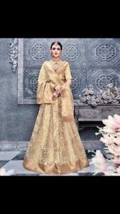 Traditional Pure Banarasi Silk Wedding/Bridal Wear Gold Lehenga Choli