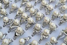 Wholesale Lots 20pcs Resin Pearl CZ Rhinestone Silver Plated Woman Rings FREE