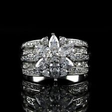 QVC Diamonique Ring Sterling Silver 2.10 cttw Mixed Cut Flower Size 8