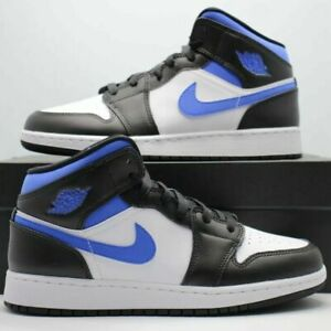 New Nike Air Jordan 1 Mid Blue/Black/White US Men's #554724-140 & GS #554725-140