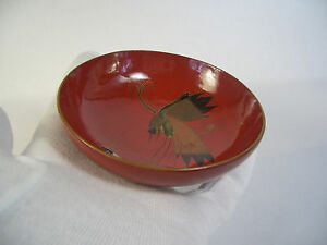 Japanese antique wooden small bowl a couple of crane doing something #8284
