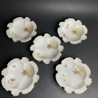 5 Vintage R C Rosenthal Bavaria Scalloped Embossed Bowls Hand Painted Flowers
