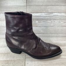 Tony Lama Mens Ankle Boots Brown Leather Mid Calf Side Zipper Almond Toe 9.5 EE
