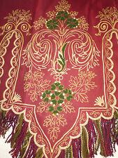 ancien french textile tenture silk cantonniere soie broderie rouge XIXe 230x76cm