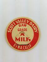 Vintage Milk Cream Bottle cap Etna California  Scott Valley Dairy a2-175