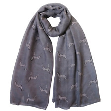 More details for vizsla dog print ladies scarf grey & taupe great gift idea free postage