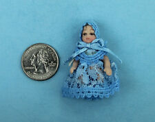 1/12 Scale Dollhouse Miniature Porcelain Baby Boy Doll Dressed in Blue #SDP157
