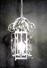 Antique Vintage Chandelier Birdcage Fixture Pandent Lamp White Shabby Fixture