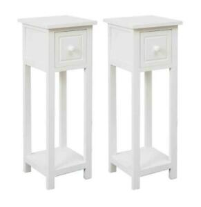 White Bedside Table Cabinet Nightstand Side End w/Drawer&Shelf Storage Bedroom