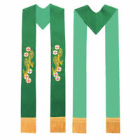 Catholic Church Prist Stole Green Embroidered Fish Cross Clergy Stole
