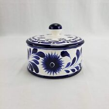 Handmade Mexican Pottery Candy Dish with Lid Blue Floral