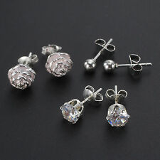 925 Sterling Silver Plated Set Of 3 Stud Earrings, 4mm, 5mm, 6mm Crystal