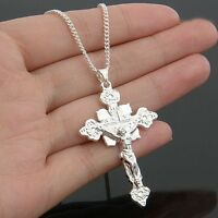 2015 New 925 Silver Pendant Plated Sterling Jesus Cross Pendant Necklace Jewelry
