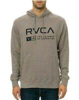 RVCA ASSOCIATE FLEECE Athletic Grey Navy Print Pullover Sweatshirt Men's Hoodie