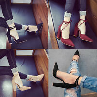 Women's Casual Lace UP Strappy Block High Heels Sandals Pointed Toe Party Nice