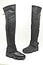VIC MATIE Black Leather Platform Over The Knee Boots with Pointed Toes  Sz 37