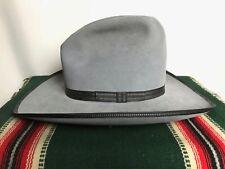 """Vtg RESISTOL Cowboy Hat 7 3/4 ~ WESTERN 4"""" Wide Brim GUS gray 3X Beaver Fur Felt"""