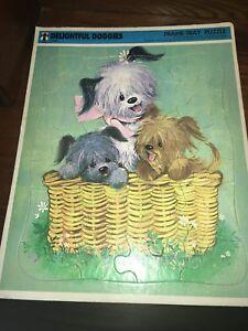 Vintage Rainbow Works puzzle. Delightful Doggies. 1968 11x13