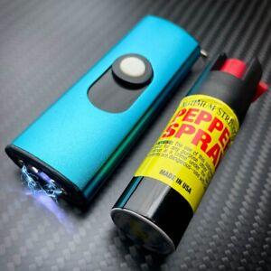 MINI SWAT Self Defense Stun Recharge LED Flashlight Women Gun Blue Pepper Spray