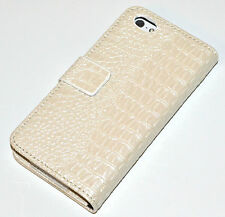 White Croc Style Leather Wallet Purse Case Cover for iPhone 5/5s/SE