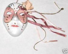 "Pink White Ceramic 4"" Face Mask w Flowers & Ribbon"