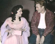 "ELIZABETH TAYLOR JAMES DEAN GIANT 1956 ACTORS 8x10"" HAND COLOR TINTED PHOTO"