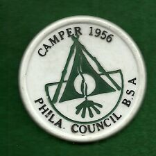 VINTAGE  BOY SCOUT - 1956 PHILADELPHIA COUNCIL CAMPER NECKERCHIEF SLIDE - AS IS