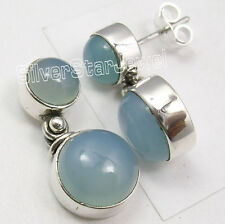 """925 PURE Silver Sparkling CHALCEDONY 2 GEMSTONE INEXPENSIVE Stud Earrings 0.9"""""""