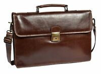 Leather Briefcase Slimline Organiser Laptop Shoulder Cross Body Bag Brown