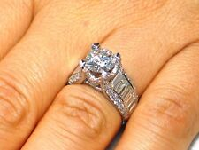 4.01 CT Natural baguette & round cut diamond semi mount VS2/F 14K White Gold