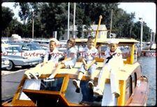 1966 Kids on 1950s CHRIS CRAFT SEDAN boat w Fly Bridge 35mm Slide N80