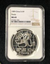 NGC MS69 1989 China Silver Panda Coin 1oz S10Y