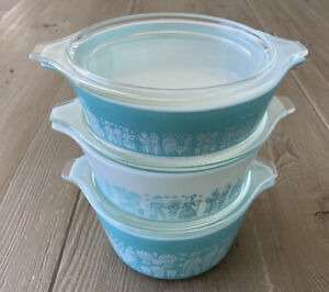 Vintage Set Of 3 Pyrex Amish Butterprint Casserole Dishes with Lids 471 472 473