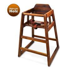 WINCO® Kinderhochstuhl + Sicherheitsgurt Walnut Massivholz Kindersitz Babystuhl