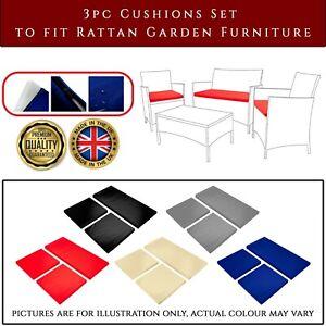 Outdoor Rattan Garden Furniture Set Replacement 3PC Cushion Set Chair Sofa Patio