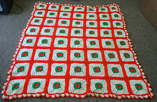 vintage handmade CROCHET throw ~White and Red Poinsetta Pattern and Diamond Grid