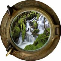 Huge 3D Porthole waterfall View Wall Stickers Film Mural Art Decal Wallpaper 17