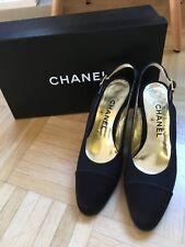 Chanel zapatos de salón talla 36,5-37 (7) tela de satén-un lazo-negro