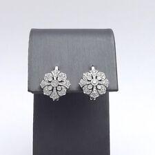 Art Deco Style 14k Gold 1/4ctw Pavè Diamond Quatrefoil Cross Leverback Earrings