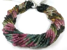 """1 STRAND NATURAL MULTI TOURMALINE RONDELLE FACETED 3-4MM, 13""""inch GEMSTONE BEADS"""