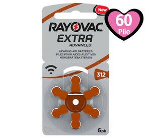 60 Batterie PILE RAYOVAC Extra 312 per Apparecchi Acustici PROTESI udito PR41