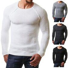 EightyFive Herren Strick EF1442 Pullover Sweat Shirt Fitness Netz Body Slim Fit