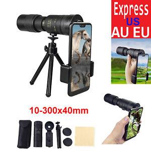 4K 10-300X40mm Super Telephoto Zoom Portable Monocular Telescope w/Tripod Clip .