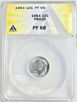 1964 Proof 10c Certified PF 68 Roosevelt Silver Dime Anacs Graded